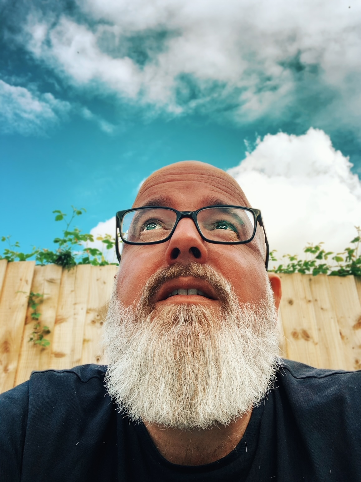 A rather arty yet fetching photo of your host, Guy Carberry, looking wistfully toward a sky of puffy clouds and opportunity.